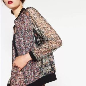 Zara • Floral Lace Bomber Jacket
